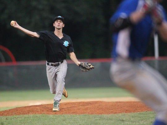 Tallahassee Baseball Club's Chad Corriveau pitches