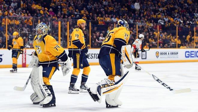 Juuse Saros has relieved Pekka Rinne in goal in two of Rinne's past four starts.