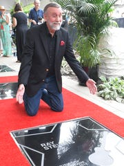 Ray Stevens reacts to his new star on the Music City Walk of Fame in Nashville on Tuesday, Aug. 21, 2018