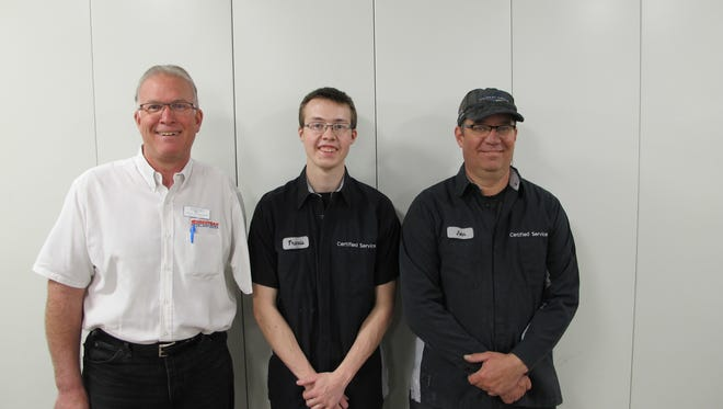 From left: Jeff Wiegand, collision center manager at Sheboygan Chevrolet, Travis Steindl, and John Michaels, auto body technician and refinish specialist at Sheboygan Chevrolet.