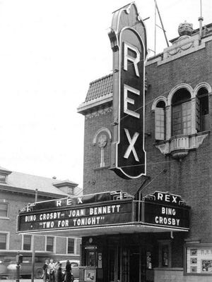 Rex Theater 1935, Bing Crosby and Joan Bennett starred in two for tonight. The Sheboygan Clinic is seen in the background.