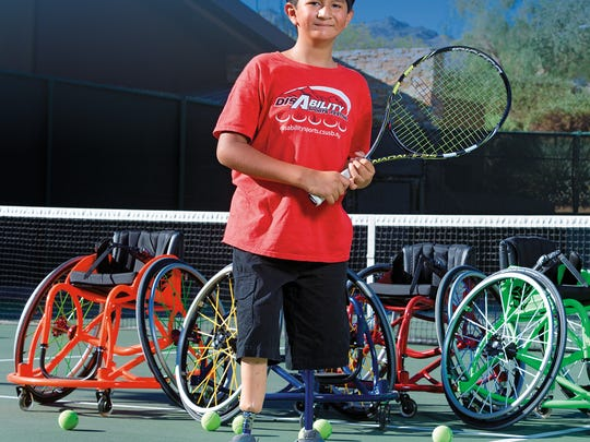 Nine-year old INCIGHT athlete Damain was born with a Oromandibular Limb Hypogenesis Syndrome. Using his prosthetic legs and the high-performance wheelchairs purchased by a BIGHORN Cares Grant allows him to play tennis, basketball and baseball.