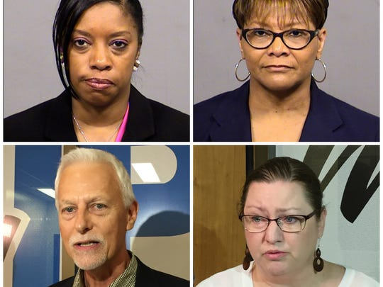 """Clockwise from top left: IPS employees Shalon Dabney, Lela """"Tina"""" Hester, Deb Leser and William Jensen have left the district in the wake of the district's handling of sexual abuse allegations involving a former counselor."""