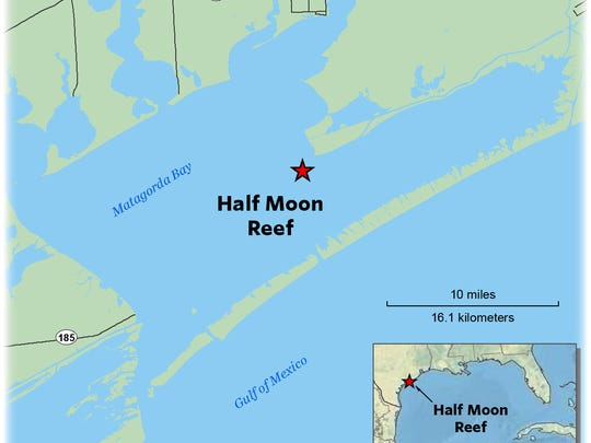 Half Moon Reef is a 54-acre oyster bed in West Matagorda Bay created by The Nature Conservancy.