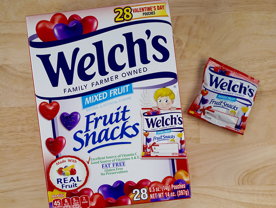 Welch's Fruit Snacks Valentine's pouches.