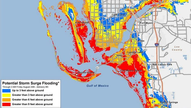 This example is the sort of storm surge flooding map that would be produced if a hurricane threatened the Fort Myers area.
