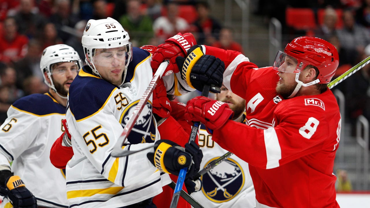 Red Wings' Jonathan Ericsson and Justin Abdelkader and coach Jeff Blashill discuss a third straight loss, this one a 3-2 defeat to the Sabres, the worst team in the Eastern Conference on Thursday, Feb. 22 at Little Caesars Arena.