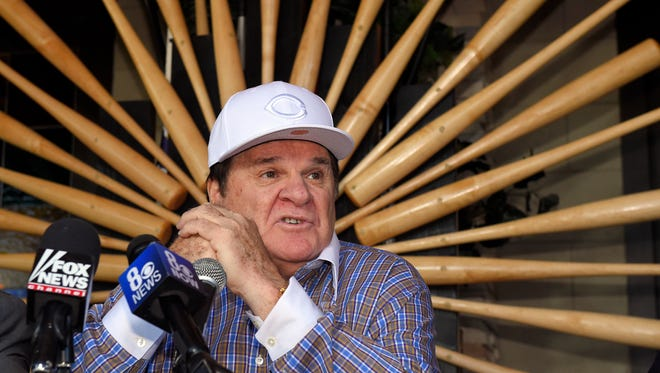 Former baseball player and manager Pete Rose speaks at a news conference, Tuesday in Las Vegas, after Major League Baseball commissioner Rob Manfred announced Monday that he had rejected Rose's plea for reinstatement.