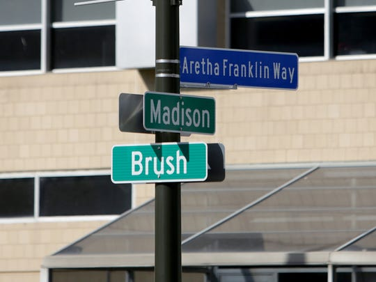 Aretha Franklin Way street sign is unveiled at the