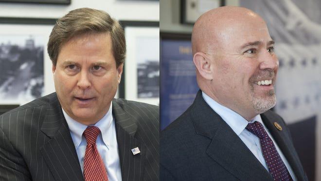 Democrat Donald Norcross of Camden, left; Republican Tom MacArthur.