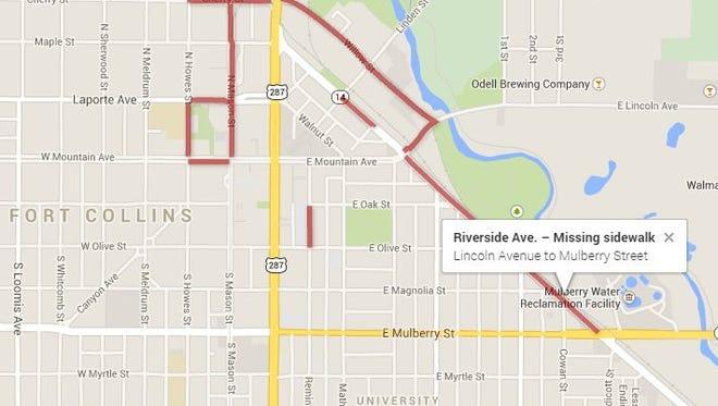 Sidewalk Trouble Spots in Fort Collins.