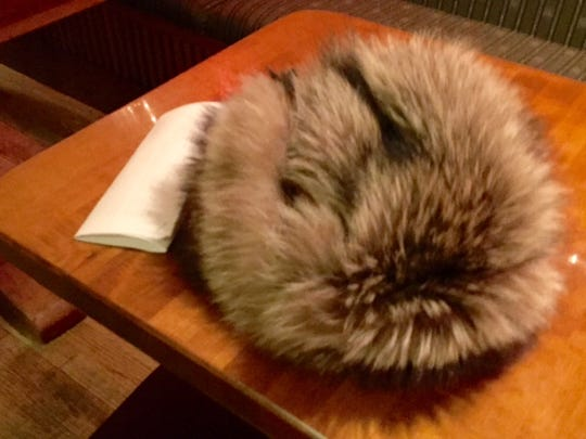 Mayoral candidate Steve Goodkind's trademark fur hat with flaps rests on a bar table at his launch party Thursday night. Goodkind says he's thinking of stamping an image of the hat onto a campaign button.
