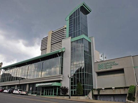 The Nashville Convention Center property between Broadway and Commerce at Fifth Avenue.