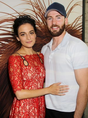 Jenny Slate and Chris Evans attend the New York premiere of 'The Secret Life of Pets' on June 25.