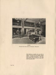 This photo shows the lobby of the Francis Scott Key Hotel in Frederick, Md., which was operated by the same firm chosen for the Lebanon Community Hotel. The price tag for the Lebanon hotel was $1.1 million. 'The hotel will be financed, built, and controlled by citizens who purchase stock,' proclaimed the proposal.