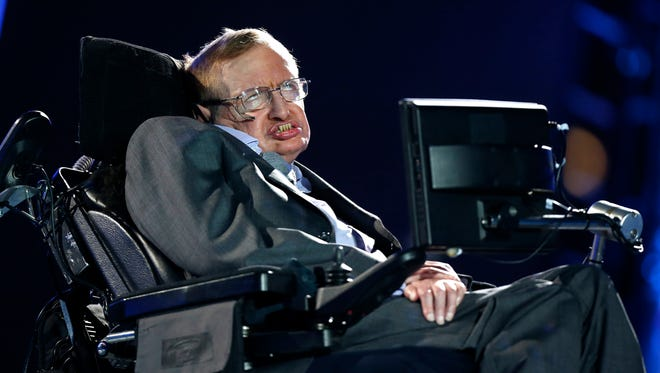 British physicist, Professor Stephen Hawking speaks during the Opening Ceremony for the 2012 Paralympics in London.