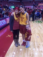 Melissa Grossman along with her son Myles and sister Lexi Albrecht.