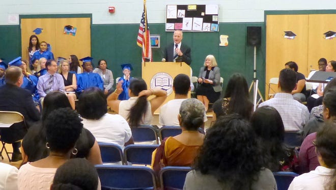 Freeholder  Charles E. Tomaro who was the guest speaker today at the Bright Beginnings Learning Center, a school for students with autism and multiple disabilities.