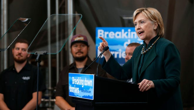 Hillary Clinton speaks during a campaign stop in Athens, Ohio, on May 3, 2016.