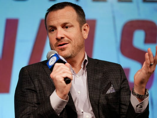 Louisville head coach Jeff Walz answers a question during the Atlantic Coast Conference women's NCAA college basketball media day in Charlotte, N.C., Thursday, Oct. 19, 2017. (AP Photo/Chuck Burton)
