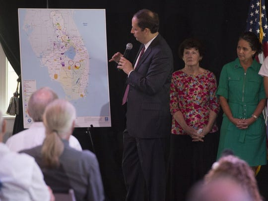 Sen. Joe Negron talks during a public meeting Aug. 9, 2016, regarding the toxic Lake Okeechobee discharges in Stuart.