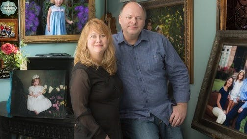 Keith Wimpy, right, and wife Suzette run the full-service Franklin photography studio Kevin Wimpy Portraits and Gardens.