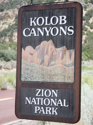 A sign welcomes visitors to the Kolob Canyon area in Zion National Park. Access to parts of the area will be closed for seven months starting in May 2018.