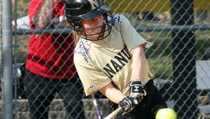 Meredith Lee of Nanuet hits during a girls softball game against Tappan Zee at Nanuet High School April. 13, 2018. Tappan Zee defeated Nanuet 14-4.