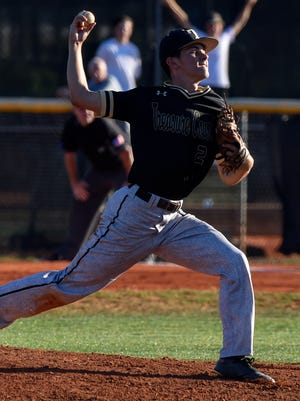 Treasure Coast's Anthony Martens (2) pitches Tuesday, April 3, 2018, during his team's high school baseball game against Jensen Beach at Jensen Beach High School. To see more photos, go to TCPalm.com.