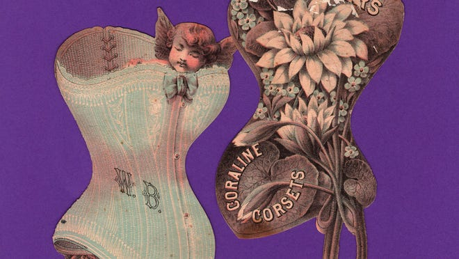 """These colorful die-cut Victorian ads for C.C. Corsets were distributed by Warner Brothers Corset Company. Bound with """"fine strips of Coraline"""" these fashionable undergarments were sold at M.C. Foye in downtown Portsmouth."""