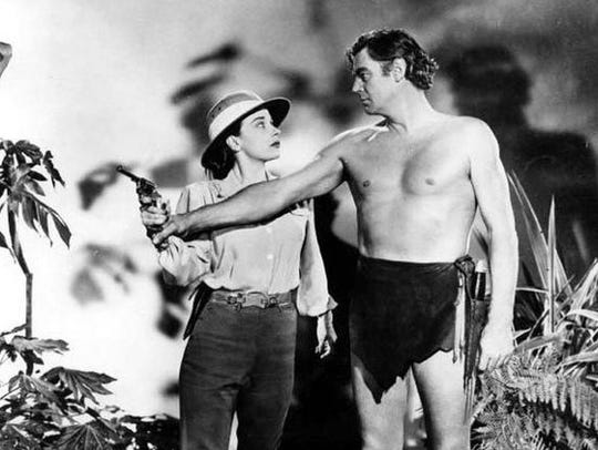 Patricia Morison and Johnny Weissmuller pose for a