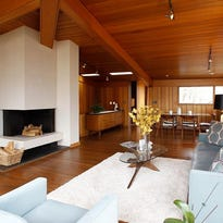 The interior view of a mid-century modern home in Pound Ridge,  photographed on Dec. 22, 2014.