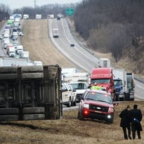 An overturned semi-truck at the scene of the fatal accident on I-71 in Boone County.