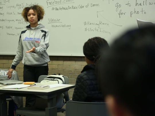 Drake student Virginia Hill talks to Drake Professor