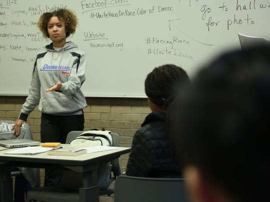 Drake student Virginia Hill talks to Drake Professor Carol Spaulding-Kruse's class on Thursday, Feb. 18, 2016, on the Drake campus. The students in the class are helping produce a Unite Iowa series on race.