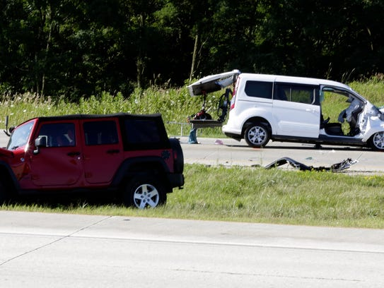The scene of a two-vehicle crash on State Highway 23
