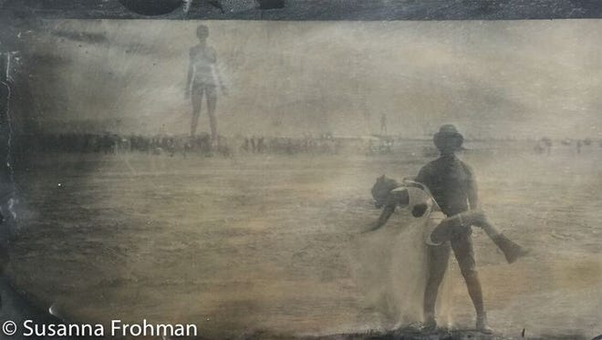 A wetplate tintype of Burners at Burning Man 2015 in the Black Rock Desert.