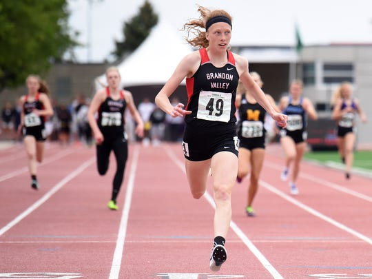 Brandon Valley's Krista Bickley crosses the finish line to win the Class AA girls' 400 meter dash during the State Track and Field Meet on Saturday, May 27, 2017 at Howard Wood Field.