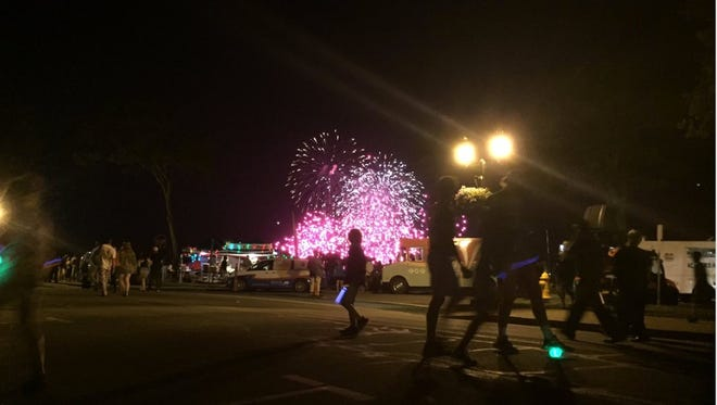 An image of the Plymouth, Mass. fireworks barge as multiple fireworks appear to go off at once. A fire on the barge ended the Fourth of July show on Monday, July 4, 2016 around 9:30 pm local time. There were no injuries, according to the Plymouth Police Department.