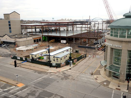 The KI Convention Center expansion is rising from the ground November 4, 2014. The site has changed dramatically now that much of the structural steel is in place to the west of the existing center.