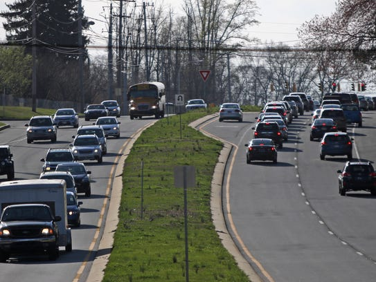Rush-hour traffic flows last year along Lancaster Pike