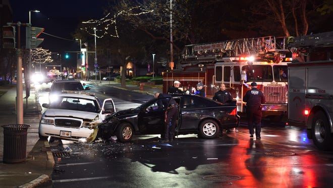 A City of Poughkeepsie Police cruiser was struck by a car on Main Street in the City of Poughkeepsie on Wednesday night.  The Police cruiser was traveling east on Main Street when it was struck by a car traveling west at the intersection of Bridge Street.