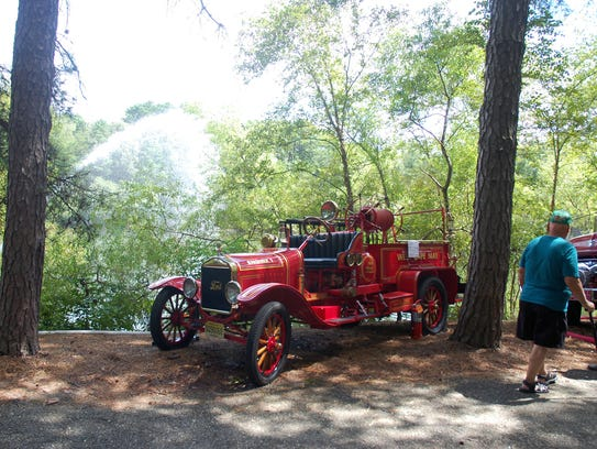 A water pumper fire truck from 1921 was on display.