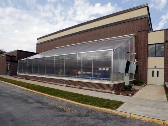 The exterior of the new Elkhart Lake High School greenhouse
