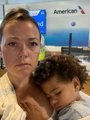 Rachel Starr Davis, and her son Lyon, 2, were forced off an American Airlines flight last week when her son would not wear a mask.