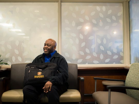 Marine veteran Michael Mimms, shown at Kennedy Hospital in Turnersville, works as a veteran health care navigator for the New Jersey Hospital Association.