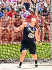 Greencastle-Antrim's Campbell Parker competes in the boys AAA discus at the PIAA Track & Field Championships.