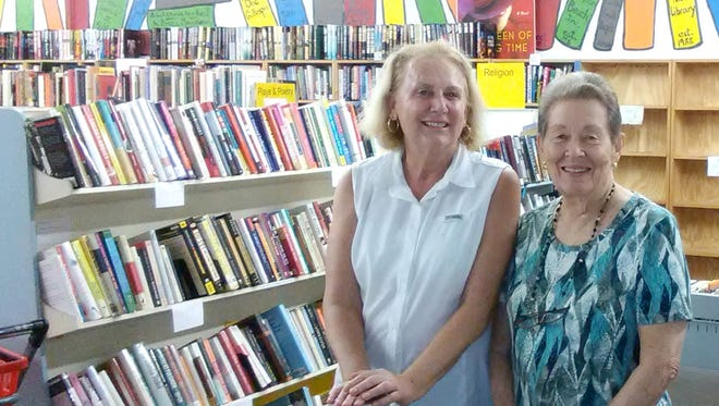 Volunteers Mary Morett and Kay Balciulus at the Book Depot.