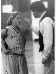 Pascack Valley senior guard Lauren Bloch gets the point from head coach Jeff Jasper.