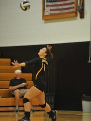 Kayle Zizzo serves in the third game against Riverdale.